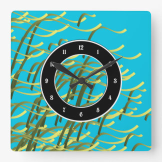 Seaweed on aqua square wall clock