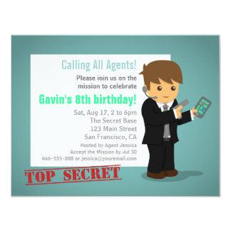 Secret Agent Birthday Party Blue Personalized Invite