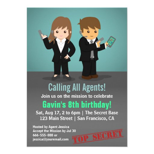 Secret Agent Birthday Party Invitations