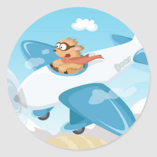 Secret agent Boo flying a plane Round Sticker