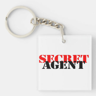 Secret Agent Double-Sided Square Acrylic Key Ring