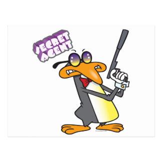 secret agent penguin cartoon character postcard