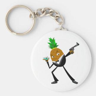 Secret Agent Pineapple Basic Round Button Key Ring