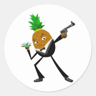 Secret Agent Pineapple Round Sticker