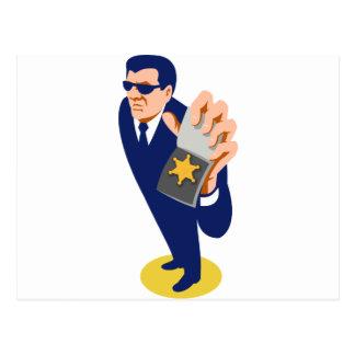 secret agent showing id badge retro postcard