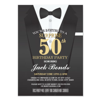 SECRET AGENT SPY BOW TIE SURPRISE BIRTHDAY PARTY 13 CM X 18 CM INVITATION CARD