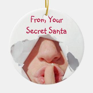 Secret Santa Gift Round Ceramic Decoration