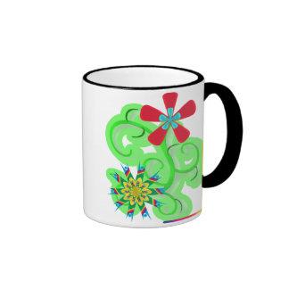 Secular Humanist & Atheist Symbol Flowers Ringer Mug