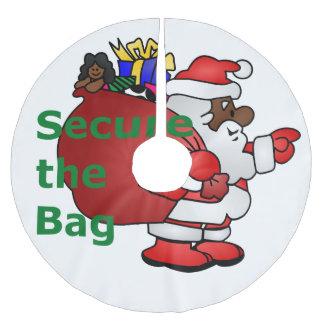 secure the bag black santa tree skirt