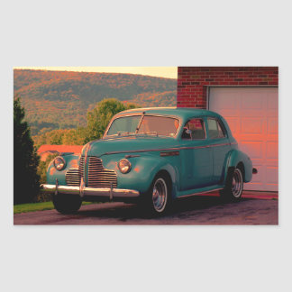 Sedan Sunset Rectangular Sticker