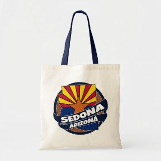 Sedona Arizona flag burst tote bag