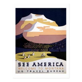 See America, Montana WPA travel Postcard