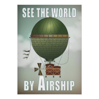 See the World Airship Citronnier Steampunk Travel Poster