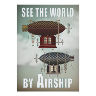 See the World Airship Noir  Rouge Steampunk Travel Poster