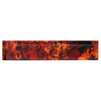 SEEING RED an abstract art design in red & orange Name Plate