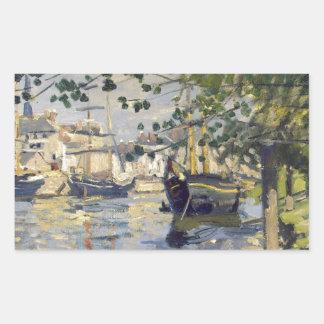 Seine at Rouen by Claude Monet Rectangular Sticker