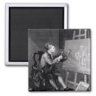 Self Portrait Painting the Comic Muse Square Magnet