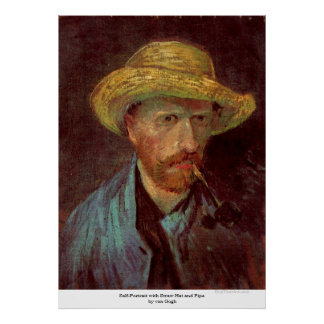 Self-Portrait with Straw Hat and Pipe by van Gogh Posters