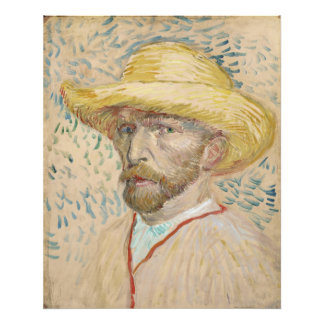 Self-Portrait with Straw Hat by Vincent Van Gogh Photo Art