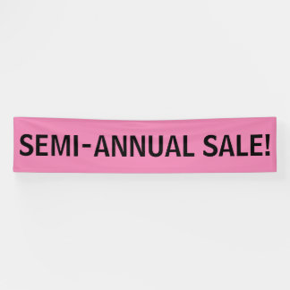 Semi Annual Sale simple black pink banner sign