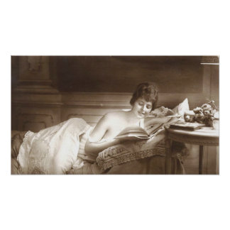 Seminude Woman Reading Poster