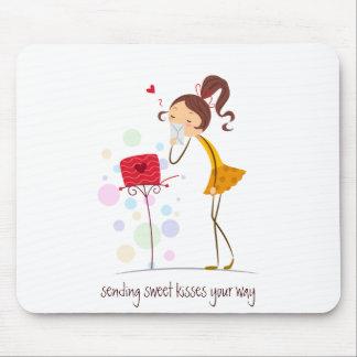 Sending Sweet Kisses Mouse Pad