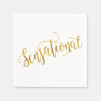 Sensational Quote Gold Faux Foil Inspiration White Disposable Serviette