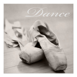 Sepia Ballet Slipper Pointe Shoes Dance Template Poster