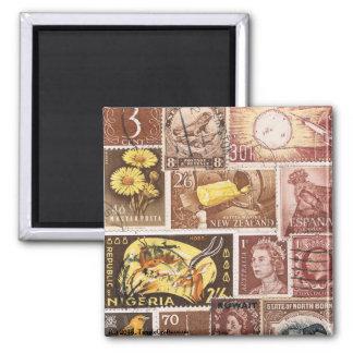 Sepia Brown Gold Fridge Magnet, Eclectic Boho Art Magnet