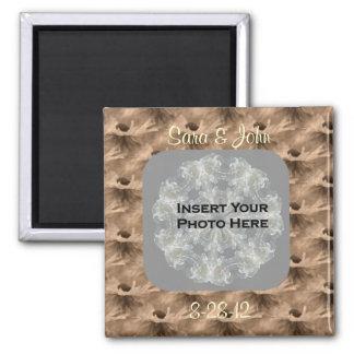 Sepia Daisy Floral Photo Wedding Magnet