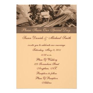 Sepia Indian Corn Autumn Wedding Invitation