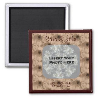 Sepia Peony Floral Photo Wedding Magnet
