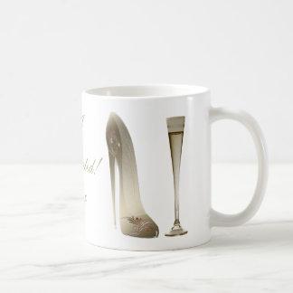 Sepia Stiletto Shoe and Celebration Champagne Coffee Mug