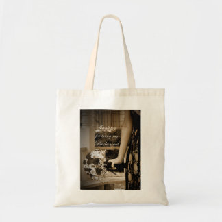 "Sepia ""Thank You for Being My Bridesmaid"" Tote Bag"