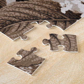 Sepia Tone Brown Floral Toile No.1 Jigsaw Puzzle