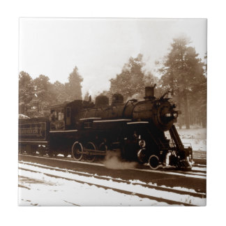 Sepia Train Engine Locomotive Visual Tile Gift