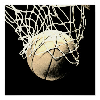 Sepia Vintage Look Basketball Perfect Art Poster