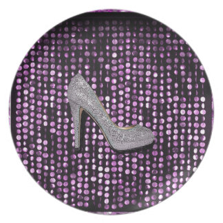 Sequins High Heel shoe purple silver Plates