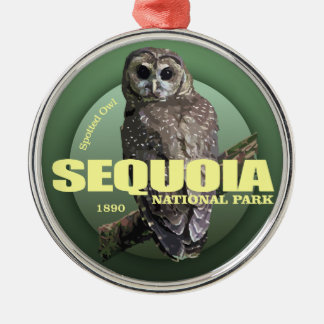 Sequoia NP (Spotted Owl) WT Silver-Colored Round Decoration