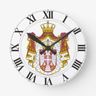 Serbia Coat of Arms Round Wall Clocks