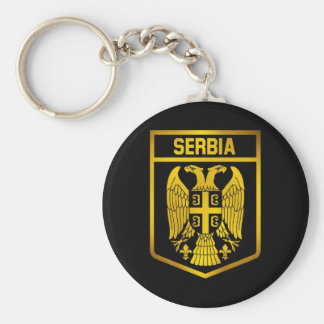 Serbia Emblem Basic Round Button Key Ring