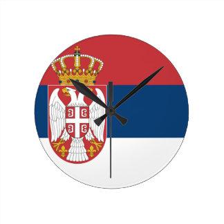 Serbia Flag Round Wallclocks
