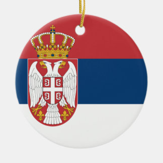 Serbia Flag Double-Sided Ceramic Round Christmas Ornament