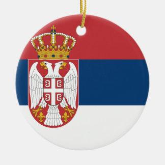 Serbia Flag Round Ceramic Decoration