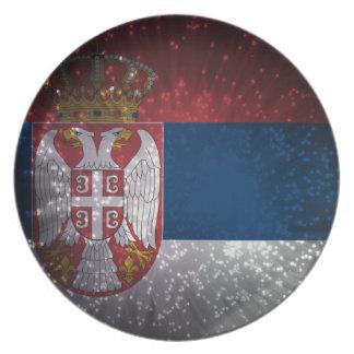 Serbia Flag Firework Plate