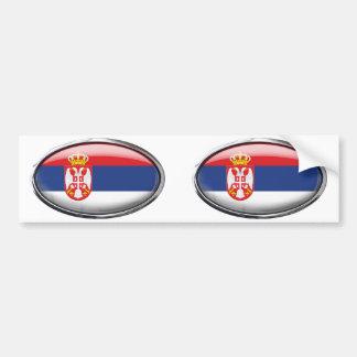 Serbia Flag in Glass Oval Bumper Sticker
