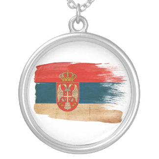 Serbia Flag Round Pendant Necklace
