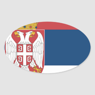 Serbia Flag Oval Stickers