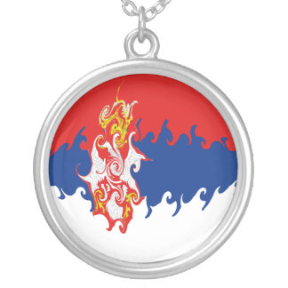 Serbia Gnarly Flag Round Pendant Necklace