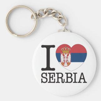 Serbia Love v2 Basic Round Button Key Ring